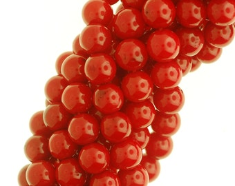 Red Natural Bamboo Coral Beads, Bamboo Coral Beads, Round Coral Beads.
