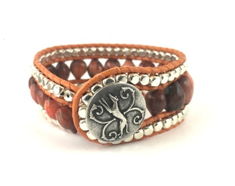 leather wrap cuff bracelet, Imfibinga seeds,