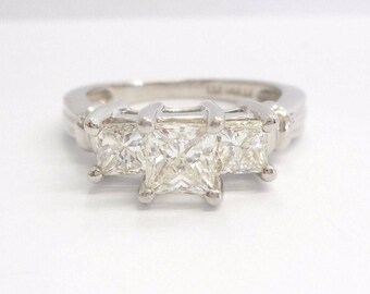 Diamond Ring, Engagement Ring, Three Stone Ring, Diamond Rings, 950 Platinum 1.47 CTW Princess Cut Diamond Three Stone Ring Sz 6.75 #03