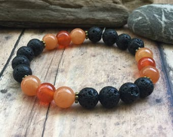 Essential Oil Diffuser Bracelet, Sacral Chakra Bracelet, Tribal Yoga Bracelet, Sacral Chakra Crystals, Aromatherapy Diffuser Jewelry.