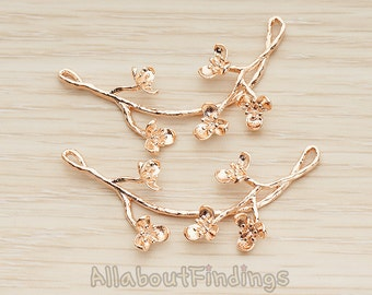 PDT1238-RG // Glossy Rose Gold Plated Tree Branch with Cherry Blossom Pendant, 1 Pc