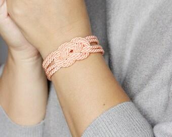 Peach Knotted Bracelet, Knot Rope Bracelet, Infinity Knot Bracelet, Love Knot Bracelet, Nautical Bracelet, Knot Bracelet,Peach bracelet