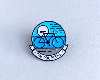 Bike enamel pin, Bicycle, On Ya Bike pin, Riding a bike, Cycle fitness enamel, Blue lapel enamel, Cycling enamel pin, Bicycle art design