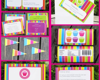 Cupcake Party Invitations & Decorations - full Printable Package - INSTANT DOWNLOAD with EDITABLE text - you personalize at home