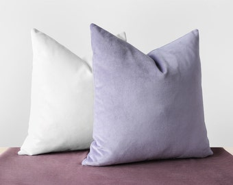 Lilac Purple Velvet Pillow Cover Pastel Purple Cushion Lavender Purple Pillows Cotton Velvet Lumbar Pillow Light Purple Throw Pillows