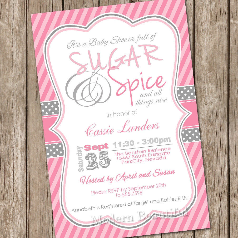 Sugar and spice baby shower invitation girl baby shower