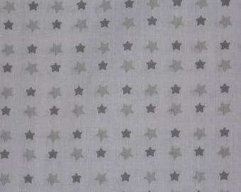White and grey pattern cotton fabric stars 65 x 50 cm