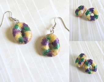 King Cake Earrings (CHOOSE Dangles or Studs!)