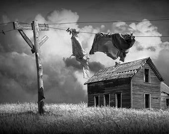 Clothesline Wash, Wash on Line, Clean Laundry, Farm House, Rustic Country, Prairie Farm, Rural Photograph, Landscape Photograph, Wall Decor