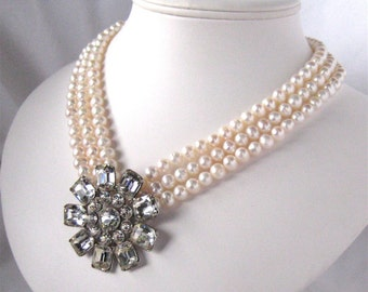 Ivory Pearl Necklace, Rhinestone Flower, Three Strand, Silver, Mid Century Modern, Handmade, Modern Bride