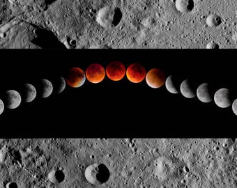 Blood moon eclipse, photography, wall art, space art, rectangle