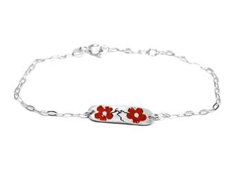 Sterling silver red Cherry Blossom bracelet