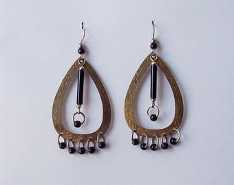 Teardrop Hoop Dangle Earrings Black Silver Tone Gold Tone 2 3/4 Inches