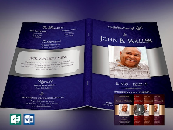 Dignity Funeral Program Publisher Word Template 5 Color