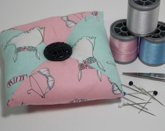 Quilted Square - Tirangular Patchwork Pincushion - Pale Blue / Pink / Underwear - Poly-fil