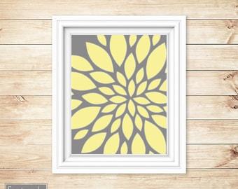 Yellow Grey Floral Flower Burst Wall Art Gray Bathroom Bedroom Livingroom Nursery Decor Printable 8x10 Digital JPG Instant Download (16)