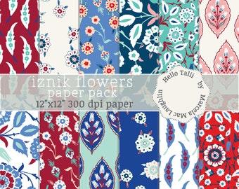 Iznik Digital Paper IZNIK TILES Turkish Tiles Iznik Flowers in Red Blue White Teal Flowers Flourishes Arabesques Wedding Party Invitations