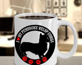 MyFaveGift I Love My Pembroke Welsh Corgi Funny Cute Gift Coffee Mug Dog Lover Ceramic Cup 11oz White