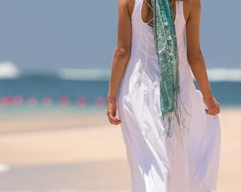Long Dewi Sundress, Beach Dress, Sundress, Summer Dress, Womens Sundress, Cotton Sundress, White Sundress, White Dress, 113-116