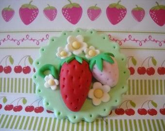 Fondant Edible Sweet Strawberry Edible Cupcake Toppers Set of 12
