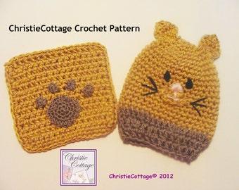 Kitty Cat Wash Mitt and Washcloth Set Crochet Pattern PDF 009