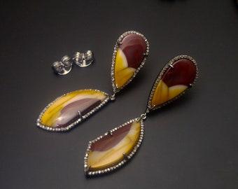 Pave Diamond Mookaite Jasper Danglers Earrings -  Mookaite Jasper Diamond Earrings -  925 Sterling Silver - Pave Earrings - Jasper Jewelry
