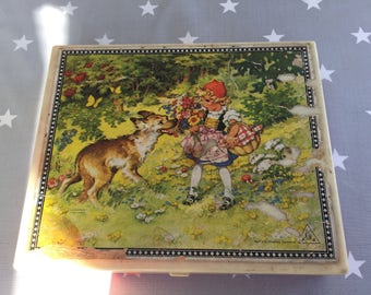 Vintage kids fairytales wooden picture puzzle