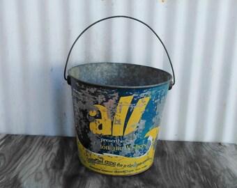 Vintage All Laundry Bucket - All Laundry Pail - Laundry Room - Galvanized Bucket