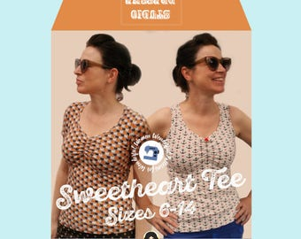 Studio dressme women – Pattern Set retro style sweetheart t-shirt – instant download includes US sizes 6-14/ EU sizes 36-44