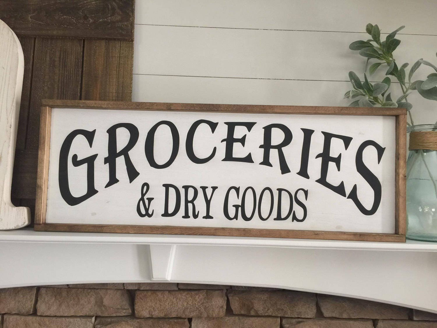 Kitchen Sign Decor Groceries & Dry Goods Wood Sign Farmhouse Sign Kitchen