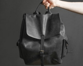 Leather backpack Mens leather backpack Leather rucksack Travel backpack Oversize leather backpack Father's day gift Gift for men