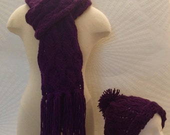 Purple Chain Scarf, Purple Knitted Scarf, Knitted Scarf