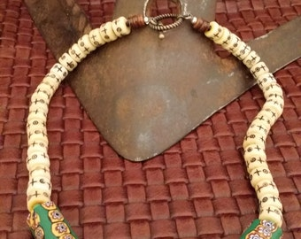 One of a Kind Bone Beaded Necklace with Green Hand Made Tube Beads