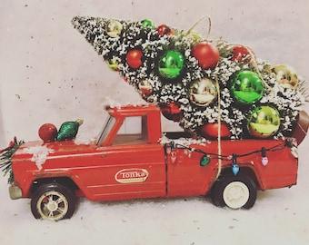 Red Vintage Tonka Christmas Truck