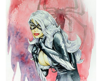 "The Black Cat, Felicia Hardy - Watercolor Painting - 11"" x 15"" Limited, #'d Edtion, Print run of 25"
