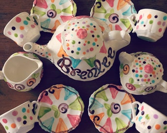 Little Girls Tea Set - polka dots, cupcakes, pennants & flowers Tea set --   Personalized Little Girl's Tea Set  Handpainted. . .
