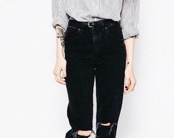 Black vintage mom jeans/high waist jeans/mom jeans/vintage jeans/grunge jeans/All Sizes