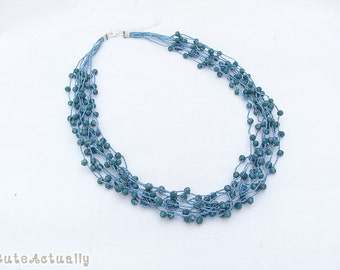 Blue Green crystal necklace on silk thread, multistrands necklace