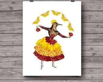 Bird Dancer, whimsical printable collage, yellow butterfly, botanical, ballet, instant download wall, unique nursery art, anthropomorphic