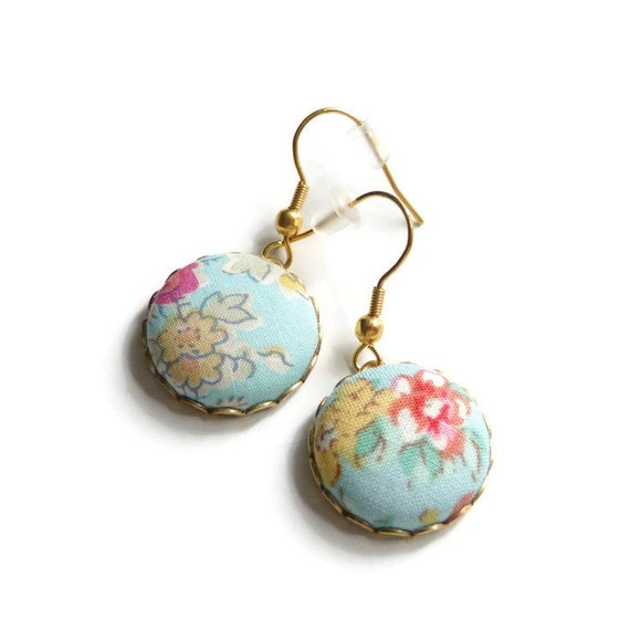 Liberty earrings, Pastel earrings, Romantic earrings, Flower earrings, Liberty jewelry, Gift under 30, Stainless steel, Jewelry on sale