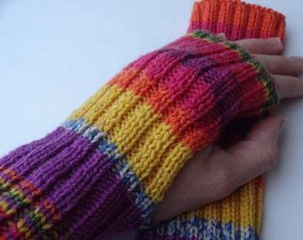 Rainbow fingerless arm wrist warmers colorful wrist arm warmers knit fingerless gloves fingerless wrist warmer glove mittens