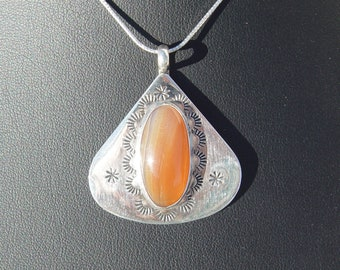 Agate Cabochon set in Stamped Sterling Silver Pendant