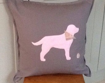 Lovely Labour appliqué cushion cover