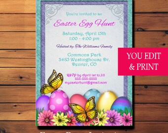 Easter Invitation, Easter Party Invitation, Easter Egg Hunt Invitation, Easter, Instant Download Edit Yourself With Adobe Reader