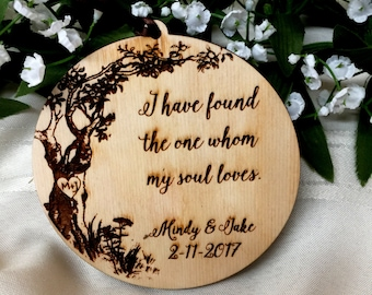 Wedding Gift, Personalized Gift, Ornament, Gift Tag, Valentine Gift, Valentines Day, Wedding Decor, Newlywed Gift, I Have Found the One