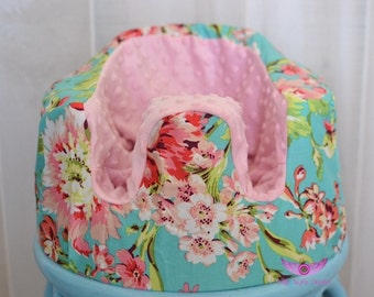 Amy Butler Bliss Bouquet in Teal and Light Pink Minky Bumbo Seat Cover