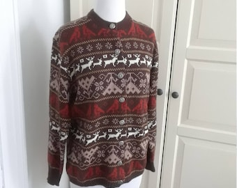 50% Off SALE!! 60s Reindeer Sweater, Jersild, Cardigan, Nordic Pattern, Orlon, Pewter Buttons, Size M/L, 42 B