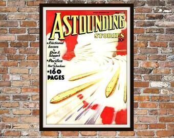 Sci Fi Print Poster, Astonishing Stories Vintage Magazine Print, Vintage Print, Dime Magazine, Magazine Science Fiction Art Item 0203