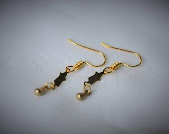 Gold Plated Earring, BRASS Charm (D#5) Dangle Earring  ~  5 mm - Women / Casual / Elegant