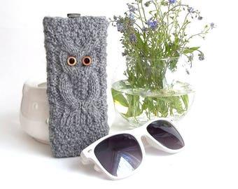 Grey Owl Glasses Case. Eyeglasses Case. Sunglasses Holder. Sunglasses Case. Reading Glasses Case. Glasses Holder.